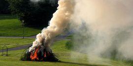 Midsummer festival bonfire in Denmark; open burning; fire; smoke