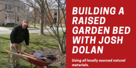 man with wheelbarrow, title Building Raised Beds using Local Materials with Josh Dolan