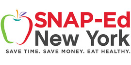 2020 SNAP-Ed logo including a profile of an apple in red and green with text saying SNAP-Ed New York Save Time. Save Money. Eat Healthy.