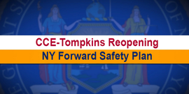 "Banner with words ""CCE-Tompkins Reopening"" and ""NY Forward"" placed over an image of the seal of the State of New York."