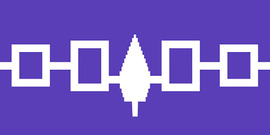 Flag of the Haudenosaunee Confederacy, an alliance of six sovereign Native American nations; purple background with white symbols