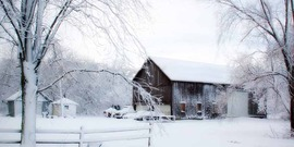 snowy scene with a barn
