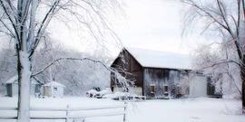 snowy scene with a barn