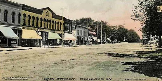 Main Street, Geneseo, from a vintage postcard
