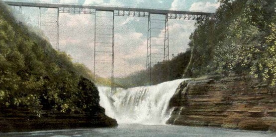Upper Falls and Bridge, Portage NY (Letchworth State Park) from a vintage postcard