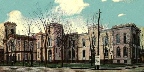 Chemung County buildings in Elmira from a vintage postcard