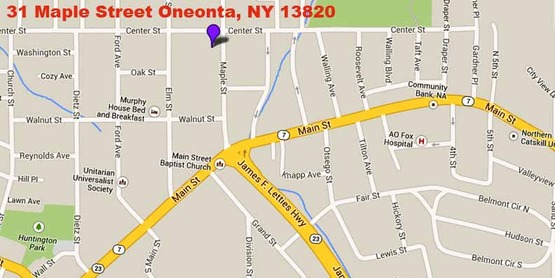 Google map to location of Oneonta office of Cornell Cooperative Extension of Schoharie and Otsego Counties. Location 31 Maple Street, Oneonta NY 13820