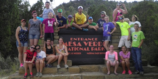 A Teen Exchange Trip group photo at Mesa Verde National Park.