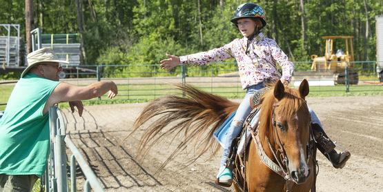 A 4-H Member on her horse during a Hemlock Fair Horse Show.