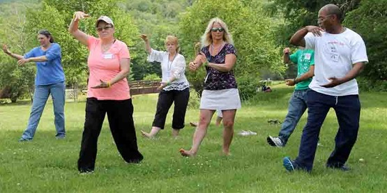 Tai chi class at a Caregiver Retreat, July 2104