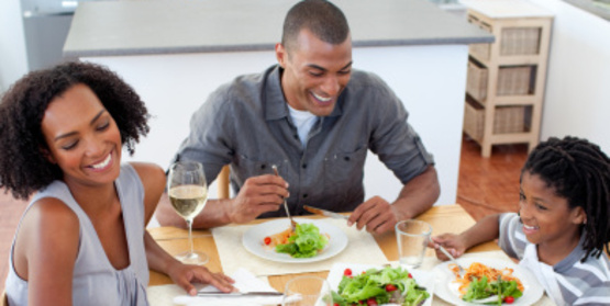 family eating a healthy dinner