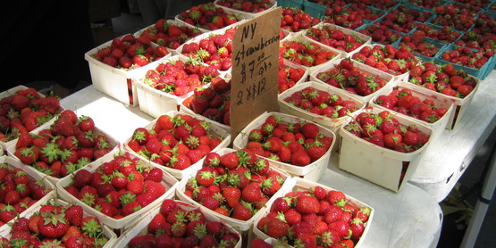 Within NY State, Onondaga County ranks first in acres of strawberries.