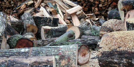 Firewood yard with unsplit wood in foreground, split and stacked in the middle and stacked in the back