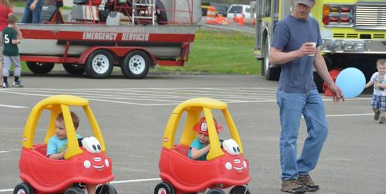 Touch a Truck--Families enjoying the small trucks to explore the area!