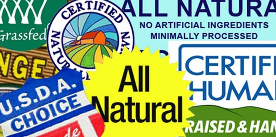 meat labels depicting terms used in meat sales,  USDA, Natural, certified, grass fed