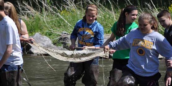 8th Grade science students from Camillus Middle School sampling for aquatic macroinvertebrates at Nine Mile Creek