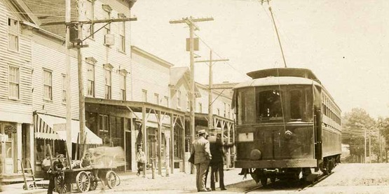 Trolley in Sodus, 1900 from a vintage postcard