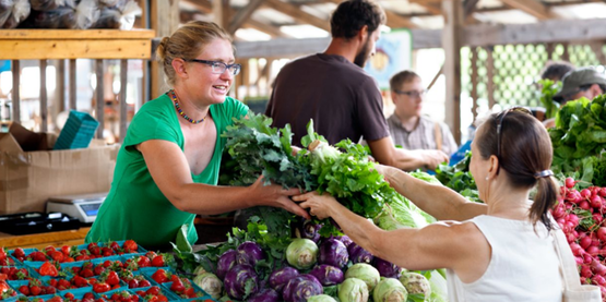 Early Morning Farm booth at the Ithaca Farmers' Market, 06/10/2013 (Cornell University Photography)
