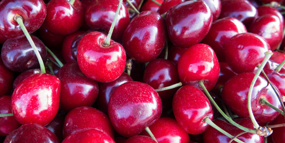 Delicious local cherries are available at farmers' markets in the summer.