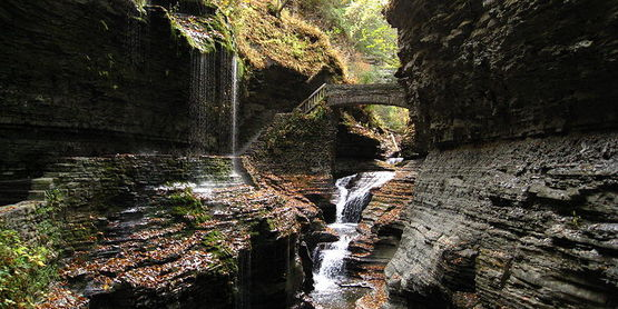 Waterfall and bridge in the gorge at Watkins Glen State Park, New York (2008)
