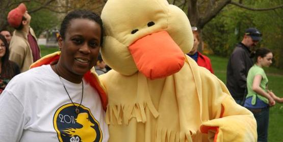 """Mama Duck"" greets visitors at the 4-H Duck Race!"