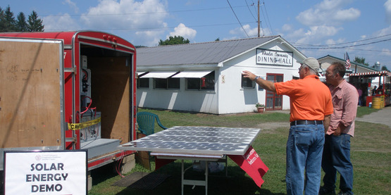Demonstrating solar power generation.