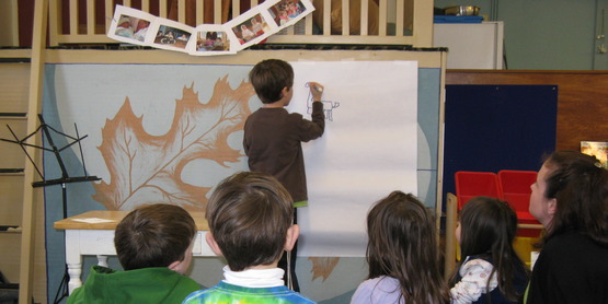 "Jake Paradisin, age 7, presents ""How to Draw a Dragon"" at a Namaste Friends 4-H Club Meeting, 2010"