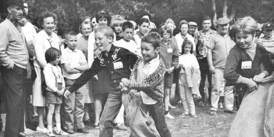 Youth participate in 3-legged race at Sullivan County Youth Fair, year unknown