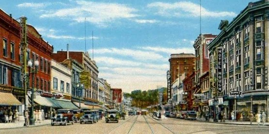 Vintage postcard, 1920s, looking up State Street in Schenectady, NY from  C.W. Hughes & Company, Mechanicsville NY