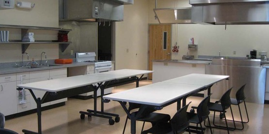 View of the Cargill Teaching Kitchen at CCE-Tompkins