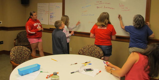 4-H'ers who won trip to tour Bethel Woods museum work together as a team, 2015.