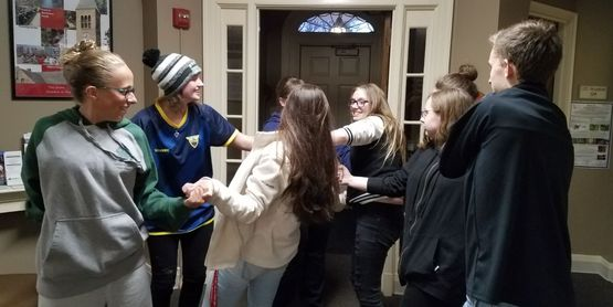 Teen Council members participating in team building activities.