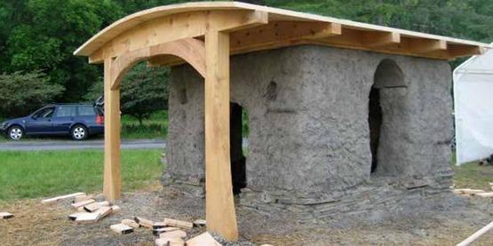 """Straw bale """"Troll House"""" at Ithaca Children's Garden"""