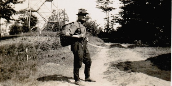 Noah LaCosse, guide to Teddy Roosevelt leading a forestry tour - 1933