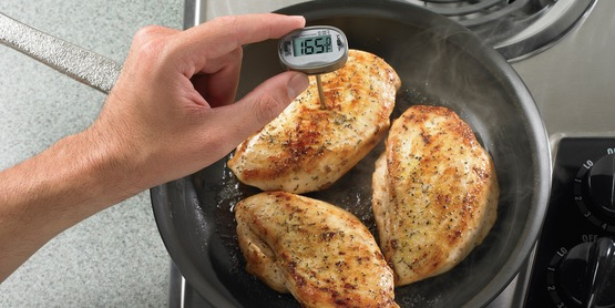 Cook chicken to 165 degrees to ensure that it is safe to eat.