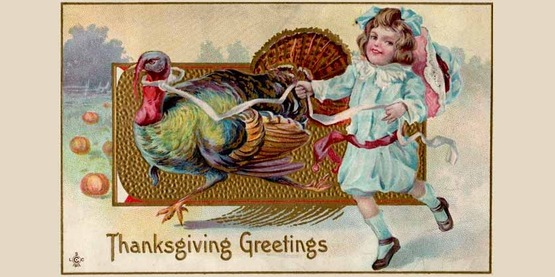 "Vintage postcard circa 1911 for ""Thanksgiving Greetings"""
