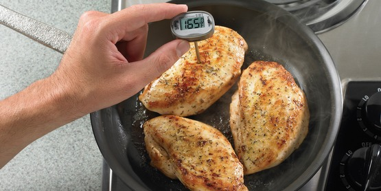 Use a thermometer to ensure proper cooking temperature