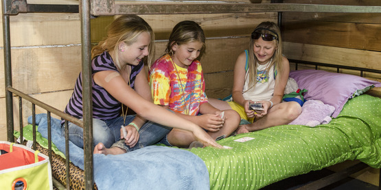 Campers spending time with each other.