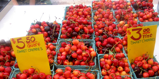 cherries for sale at the DeWitt Farmers' Market, Ithaca NY (2007)