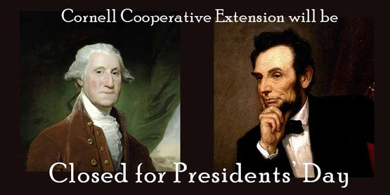 Cornell Cooperative Extension Schoharie and Otsego Counties will be closed Monday, February 19 in observance of the Presidents' Day federal holiday.