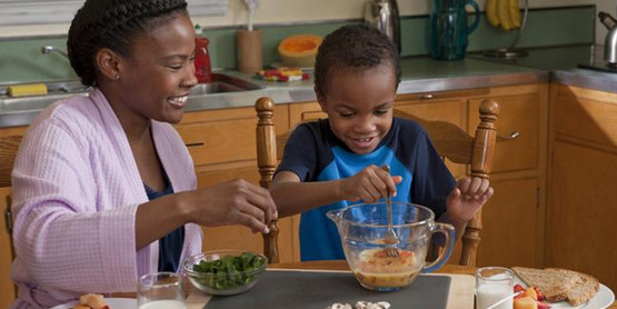 Children will often eat new foods that they help you to prepare!