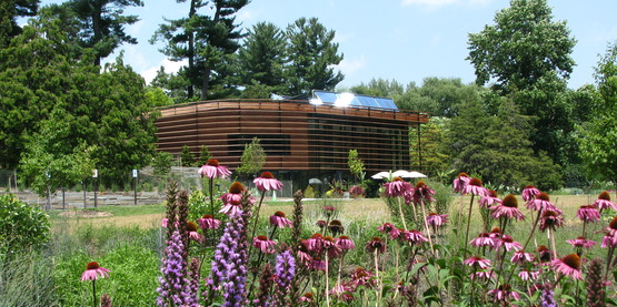 The Nevin Welcome Center fluidly blends into the Plantations
