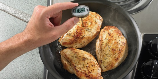 A food thermometer helps you know that your food is fully cooked.