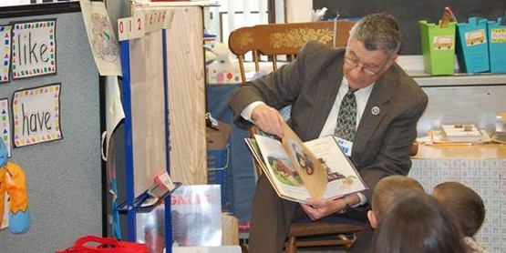 Chautauqua County Executive, Vince Horrigan, reads to students at Sinclairville Elementary on Tuesday, March 15th to celebrate National Agricultural Literacy Week, an event coordinated locally by Cornell Cooperative Extension of Chautauqua County.