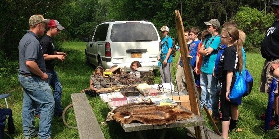 Sam and Justin Starceski lead a station about trapping at the 2015 Conservation Field Days
