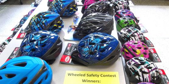 Bike helmets at Safety Fair