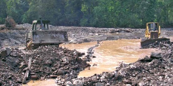Bulldozers involved in stream restoration, from 'DEC Guidelines for Post-Flood Stream Construction' online at http://www.dec.ny.gov/docs/administration_pdf/postfloodguid.pdf
