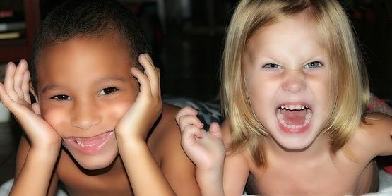Children making faces