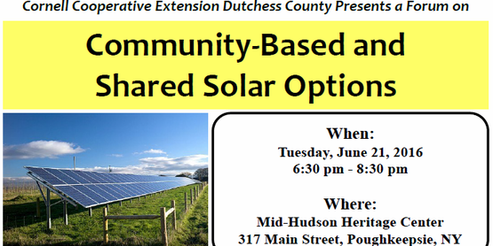 Community-Based and Shared Solar Options Forum on Tuesday, June 21st