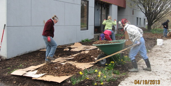 Master Gardeners plant and maintain demonstration gardens at CCE Tompkins